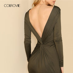 COLROVIE Red Backless Split Twist Sexy Dress Women Autumn Green Elegant  Long Sleeve Party Dress Bodycon Evening Mini Dresses