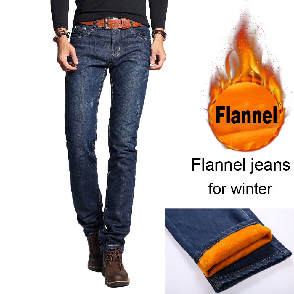NIGRITY 2018 winter Men's Fashion flannel Jeans For Young Men Sale Men's fleece Pants Casual Straight Trousers plus size 28-40
