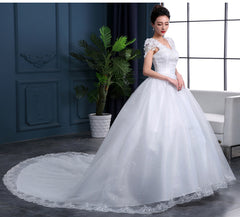 Cheap 2019 New Fashion Luxury High-end sleeved Wedding Dresses 2018 With lace Beads Fashion Bridal Gown Vestidos De Noiva