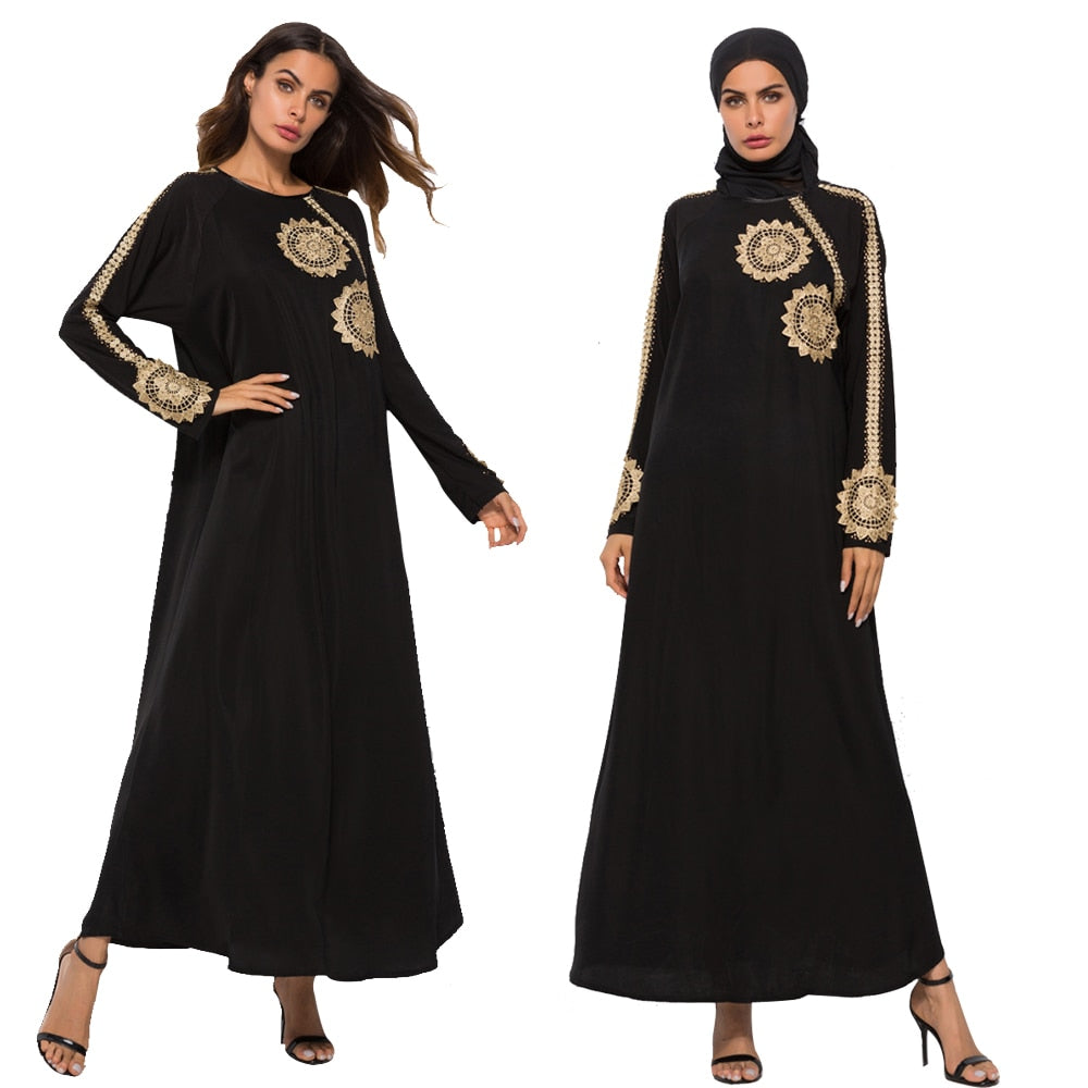 Dubai Muslim Women Abaya Long Sleeve Dress Jilbab Vintage Kaftan Islam Arab Robes
