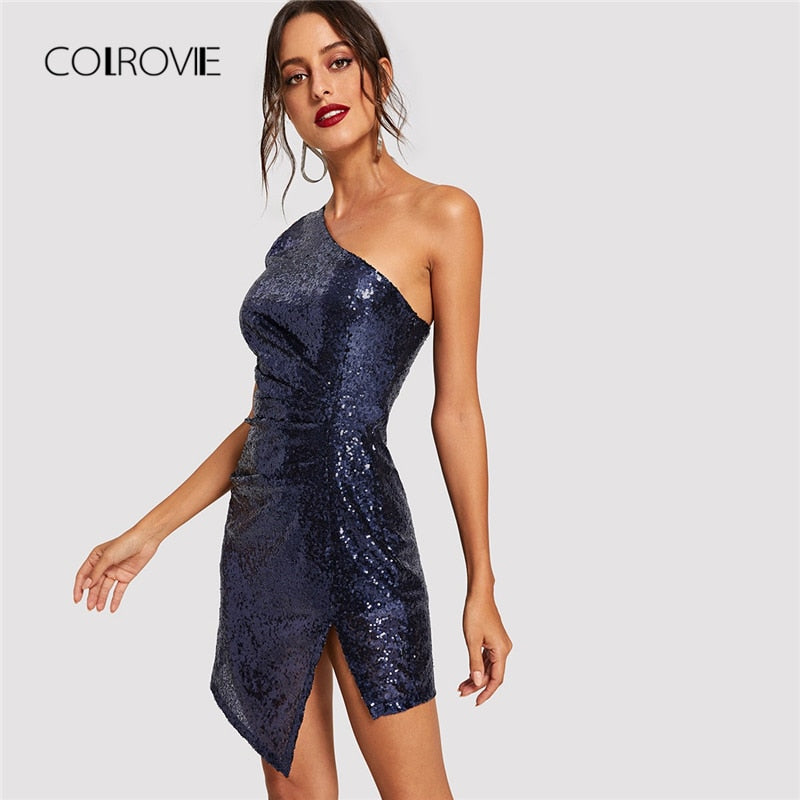 COLROVIE Blue Solid One Shoulder Sexy Winter Sequin Dress Women 2018 Autumn Bodycon Night Club Party Dress Evening Short Dresses