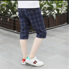 Children's wear boys casual pants spring and autumn models Big baby plaid pants trousers,  primary school single pants