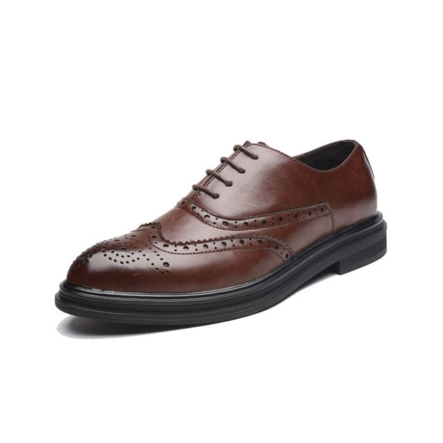 DXKZMCM Men Leather Shoes Handmade Men's Dress Brogue Shoe Classic Loafers Footwear Business Party Office Wedding