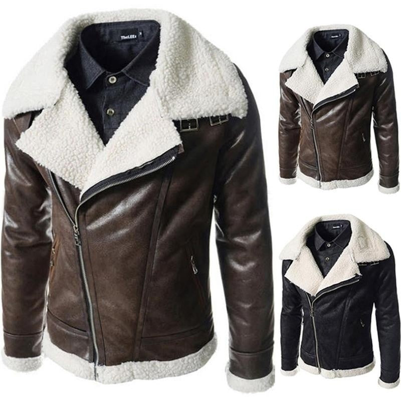 NEW Waterproof Faux Leather Lambskin Slim Collar Mens Leather Coat
