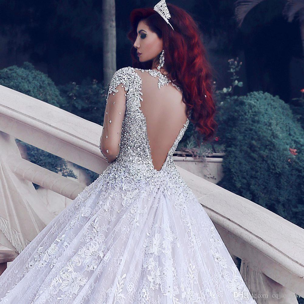 Vestido De Noiva Luxurious Wedding Dress Long Sleeves 2018 Ball Gown Beading Dubai Arabic Muslim Wedding Gowns Bridal Dresses