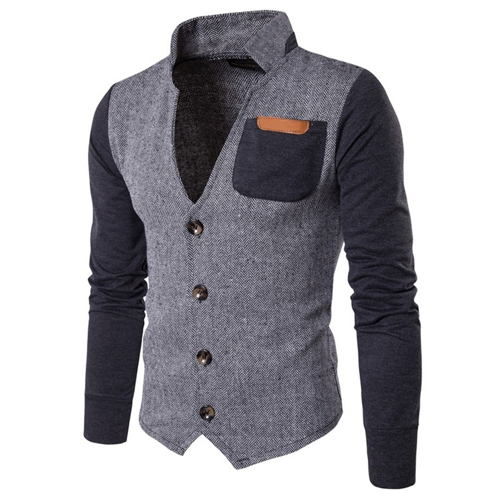 Spring Hoodies Men Long Sleeve Patchwork  Hoodie Jacket V neck Jackets Coats
