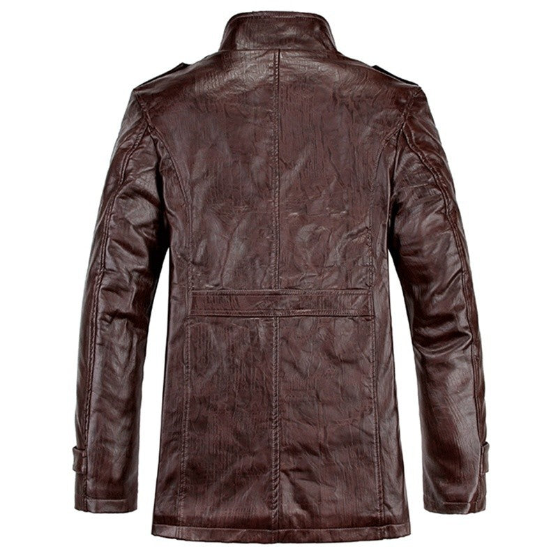 Men's Warm Winter Jacket Leather Coat Fur Parka Fleece Jacket Slim Coat