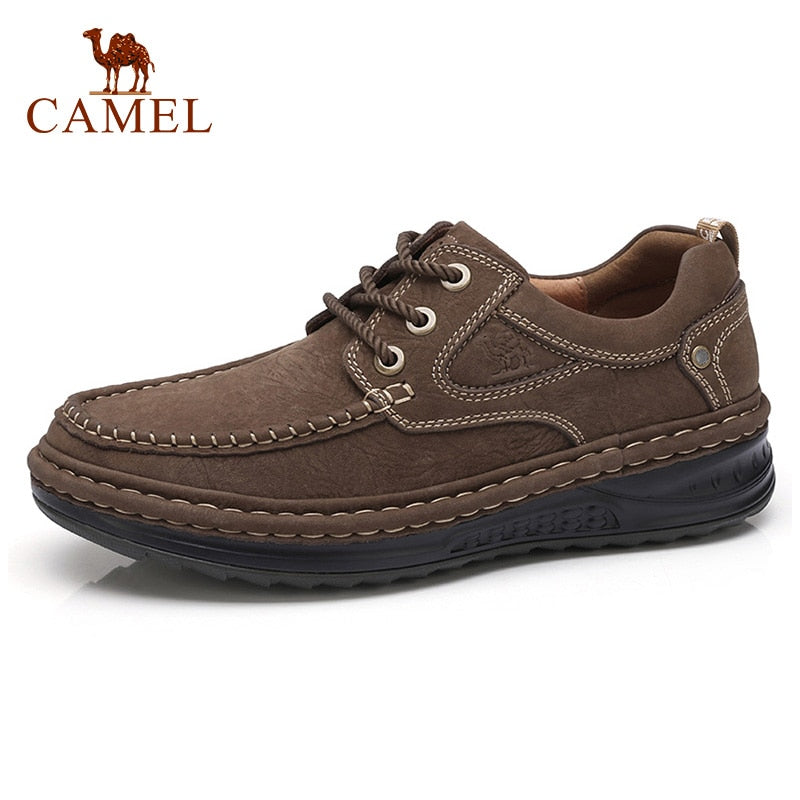 Camel Autumn Winter Genuine Leather Men's Shoes Lace-up Man Outdoor Casual Shoes Thick Bottom Stitch Non-slip Male Shoes