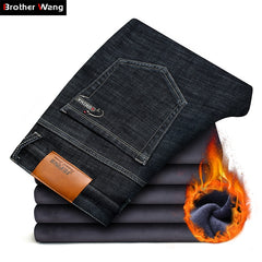 2018 Winter New Men's Warm Black Jeans Elasticity Slim Fit Thicken Denim Pants Brand Trousers Male Bule Big Size 38 40 42 44 46