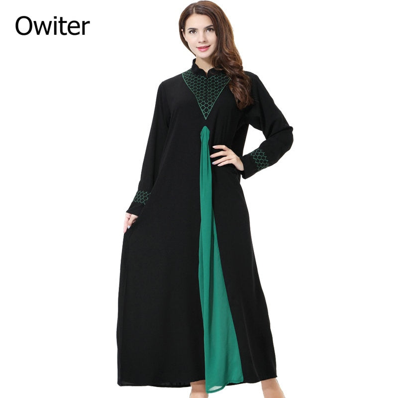 Muslim Women Long sleeve Dubai lace Dress maxi abaya jalabiya islamic women dress clothing Moroccan fashion embroidery