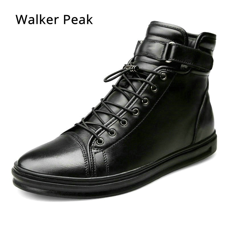 New Mens Casual shoes Genuine Leather High top Winter Shoes Lace up Ankle Boots Winter Shoes for men Warm Footwear Walker Peak