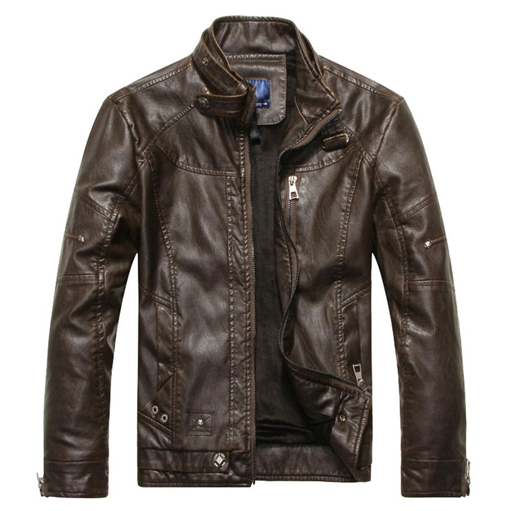 Autumn Moto Vintage Mens Jackets Coat Motorcycle PU Male Leather Jacket Men Casual Stand Collar Slim Fit lether