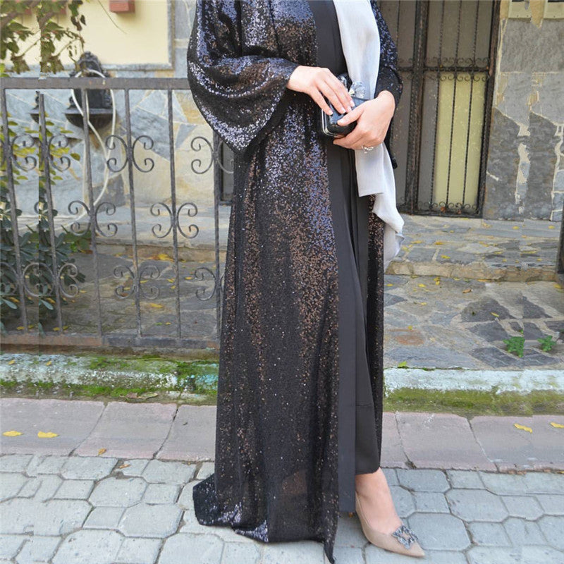 UAE Black Abaya Dubai Kaftan Sequined Cardigan Hijab Muslim Dress Jilbab Robe Musulmane Longue Women Turkish Islamic Clothing