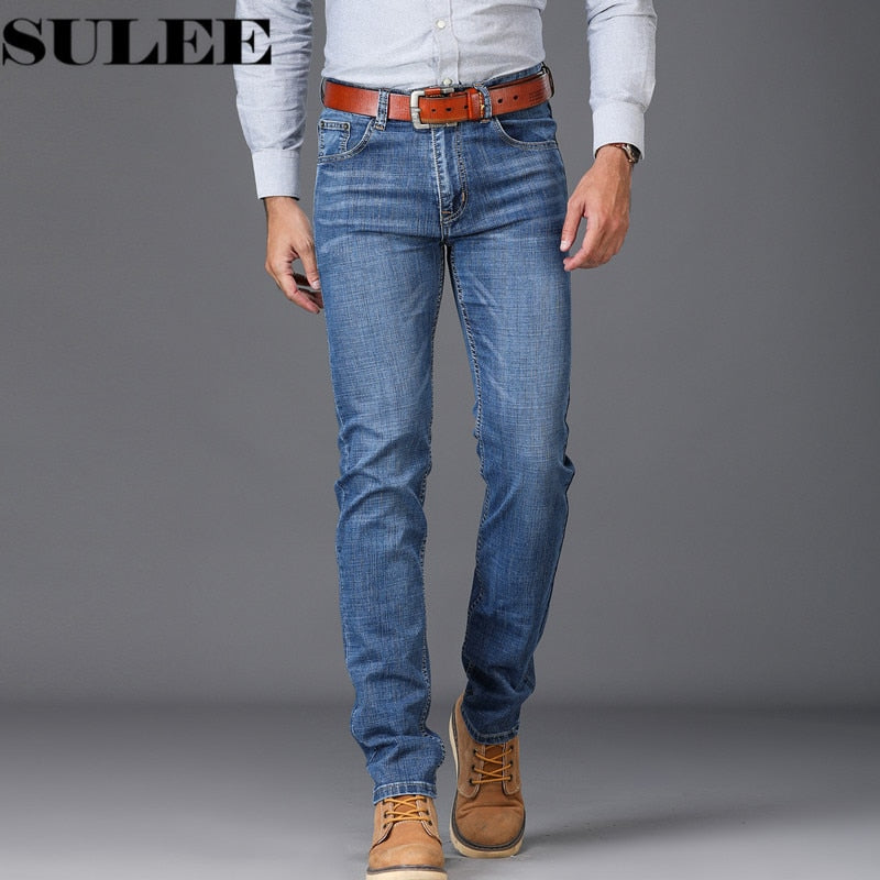 2018 New Arrival Fashion High stretch Jeans Men's Jeans Slim Water-washed Blue Straight Jeans Retro men Denim jeans