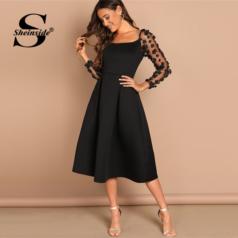 Sheinside Contrast Mesh Long Sleeve Appliques Pleated Dress Square Neck Party Dresses Women Evening Knee Length Lady Black Dress