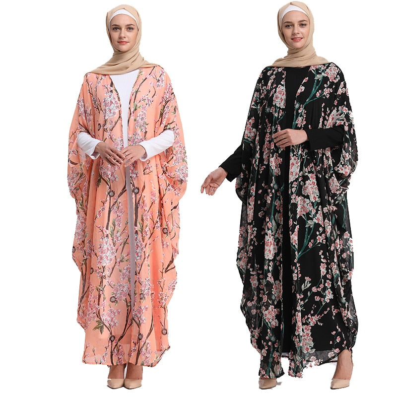 Abaya Robe Dubai Kaftan Islam Qatar Chiffon Muslim Hijab Dress Abayas For Women Jilbab Cardigan Caftan Turkish Islamic Clothing