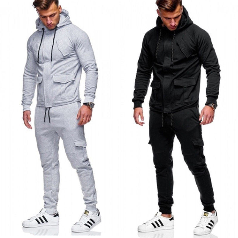 Men's Tracksuit Set Long Sleeve Zipper Hoodies Sweatshirt & Bottoms Jogging Trousers Sweatpant Gym S-XXL Black Grey Sports Suit