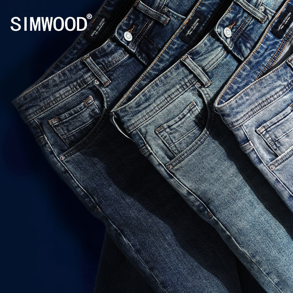 SIMWOOD 2018 New Jeans Men Classical Jean High Quality Straight Leg Male Casual Pants Plus Size Cotton Denim Trousers  180348