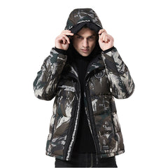 Men's Winter Hoodie Camouflage Printing Thickened Cotton Outwear Jacket Coat