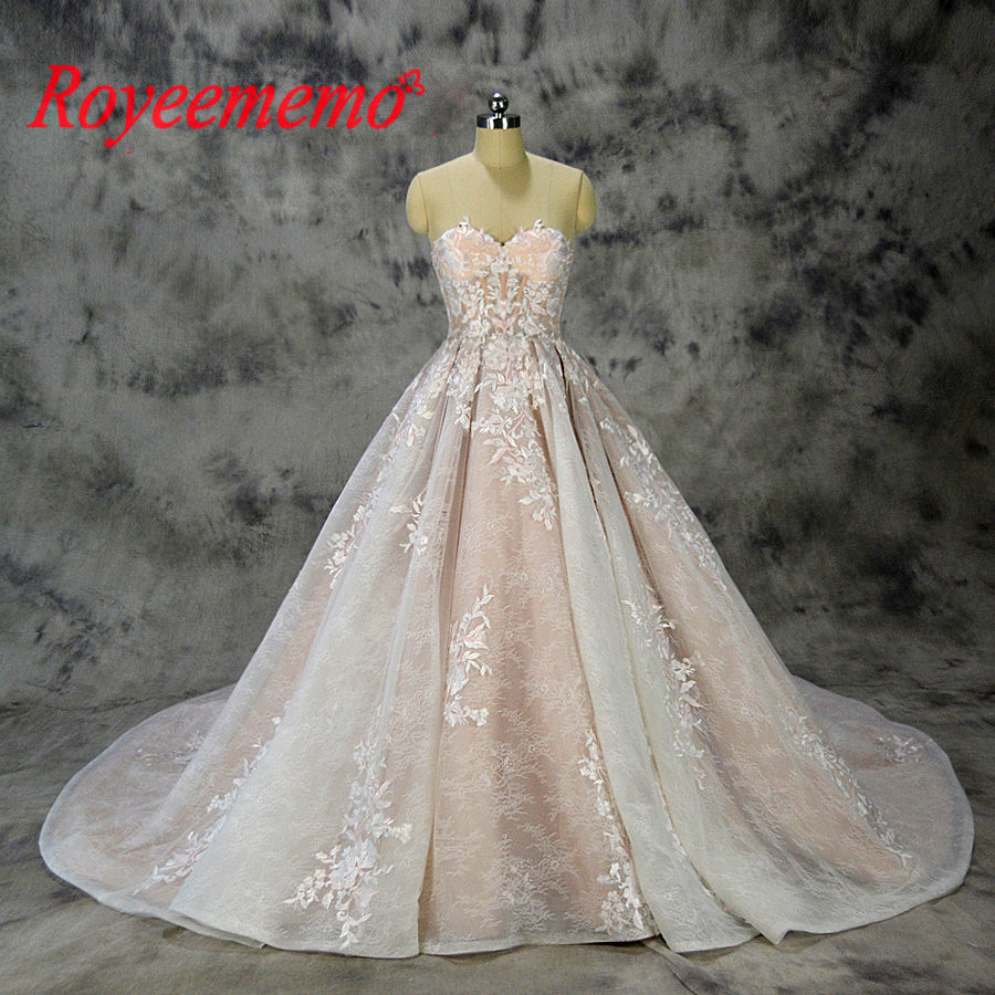 2019 new design ball gown lace wedding dress sexy transparent top wedding gown custom made factory wholesale price bridal dress