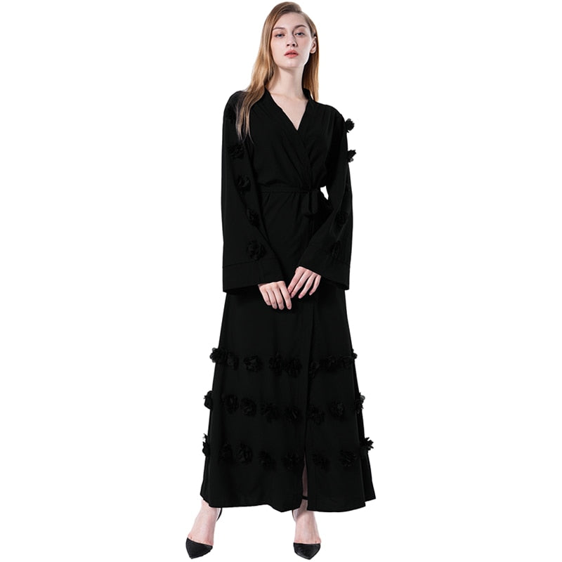 2018 New Women Muslim Maxi Dress Loose Robe Flowers Front Open Tied Arab Abaya Islamic Cardigan Women Waist Long Sleeve Dresses