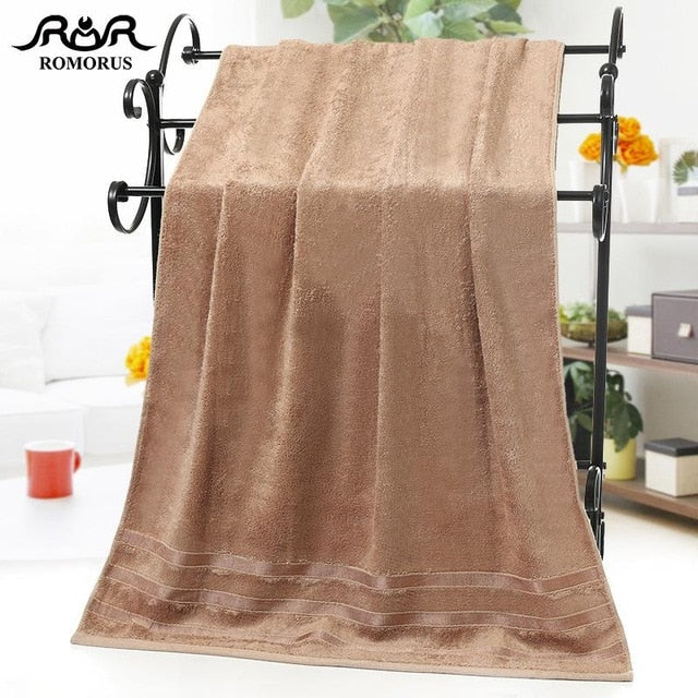 ROMORUS 100% Bamboo Fiber Towels Purple Gray Brown Bath Face Towel Set Cool Bamboo Absorbent Healthy Bathroom Towels for Adults