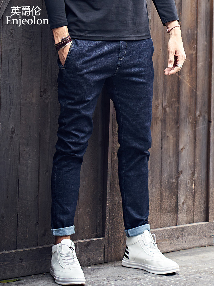 Enjeolon brand top qualiry high-quality full length jeans men fashion long trousers Straight jeans males Causal Pants KZ6141