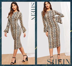 SHEIN Flounce Sleeve Snake Skin Bell Sleeve Multicolor Round Neck Long Sleeve Fit and Flare Dress Women Casual Modern Lady Dress
