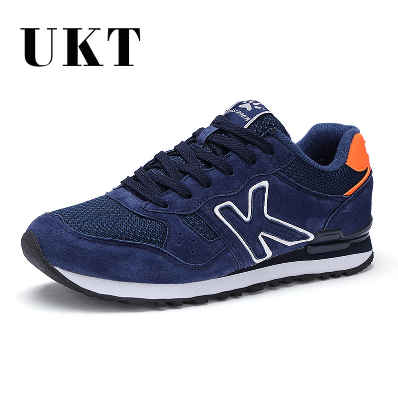 UKT Light Men Running Shoes Spring Autumn Artificial Genuine Leather Breathable Sport Shoes Cushioning Lace Up Man Sneakers