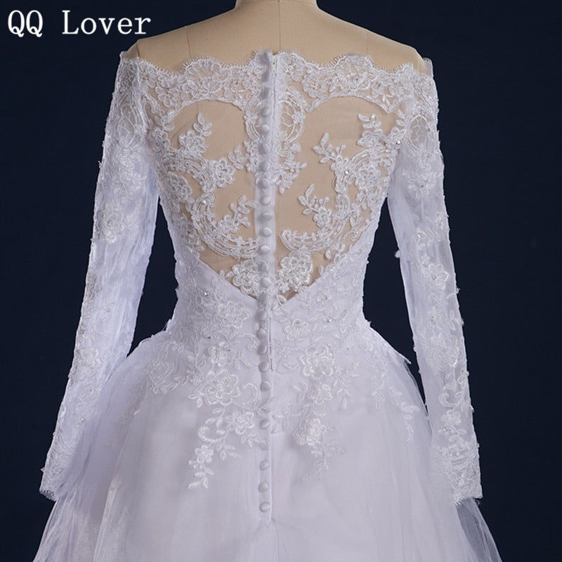 QQ Lover 2019 Boat Neck Long Sleeves Lace Wedding Dress Plus Size Custom-Made Vestido De Noiva 2019