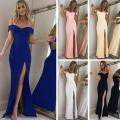 2019 New Summer Elegant Women Sexy Evening Party Black Blue Long Dress Slim Cotton