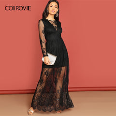 COLROVIE Black Mesh Long Sleeve Party Lace Dress Women Clothing 2019 Spring A Line High Waist Maxi Dress Evening Ladies Dresses