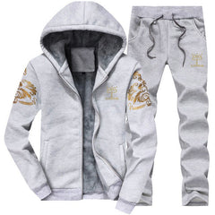 FGKKS Winter Thick Hooded Men Set Casual Warm Mens Tracksuit Outwear Men's Hoody Coat Suits Jacket+Sweatpants Sets