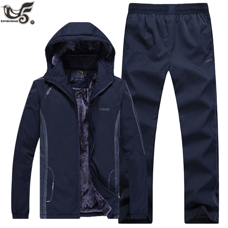 XIYOUNIAO Winter Tracksuits Men Set Thicken Fleece Hoodies+Pants Suit fall Sweatshirt Sportswear Set Male Hoodie Sporting Suits