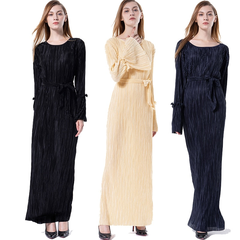Abaya Dubai Bangladesh Pleated Muslim Hijab Dress Jilbab Femme Musulmane Qatar Oman Abayas For Women Turkish Islamic Clothing