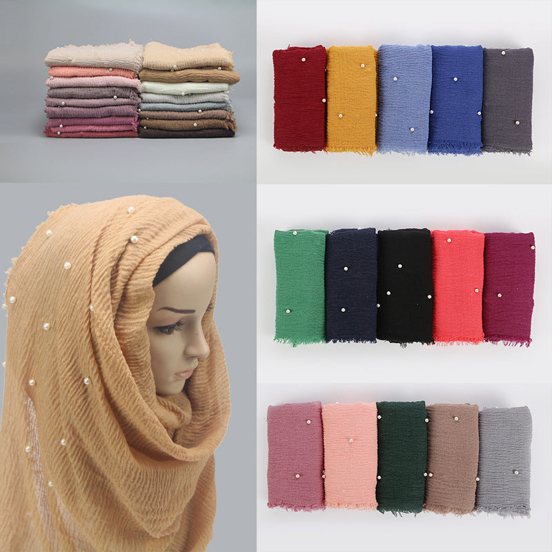 Women Fashion Bubble Cotton Beads Wrinkle Scarf  WomenShawl Plain Crumple Pearl Wrap Foulard Pashmina Muslim Headband Hijab