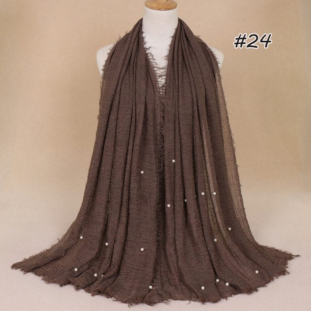 Plain Bubble Cotton Beads Pearl Wrinkle Scarf Women Oversized Shawls and Wraps Pashmina Stole Foulards Muslim Hijab 190*100Cm