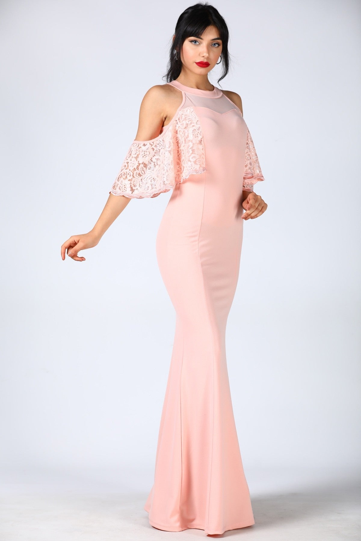 Laced Powder Evening Dress