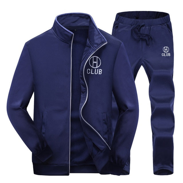 Men Tracksuits with Pants New Gyms Set Thicken Fleece Male Autumn Two Piece Clothing Casual Track Suit Sportswear Sweatsuits