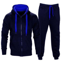 Autumn Winter Men Hoodies Set 2018 Brand Male Casual Solid Tracksuit Zipper Hooded Sweatshirt Jacket +Sweatpants Mens Tracksuit