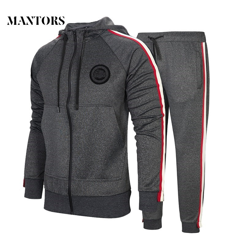 Autumn Men Set 2018 Casual Sportswear Suit Hooded Sweatshirt Tracksuit Men's Solid Zipper Jackets 2PC Hoodies + Pants Sets Male