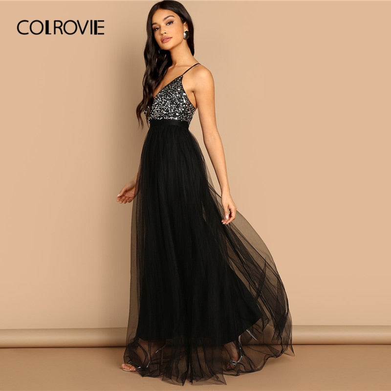 COLROVIE Black Criss Cross Backless V Neck Mesh Bodice Sequin Sexy Party Dress Women 2019 Sleeveless Ladies Evening Maxi Dress