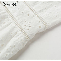 Simplee Embroidery white sexy women summer dress V neck spaghetti strap pearl buttons cotton dresses Evening party long vestidos