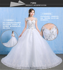 Luxury Plus Size Wedding Dress Elegant Lace Appliques V-neck Beading Wedding Gowns 2019 Crystal Lace Up White Vestido De Noiva