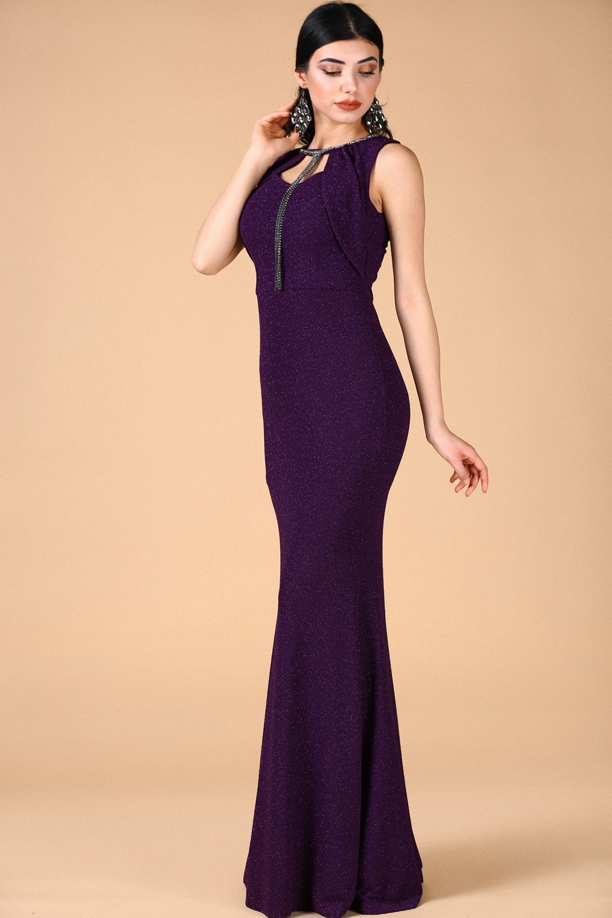 Silvery Dark Purple Evening Dress