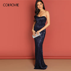 COLROVIE Navy Strapless Mesh Sequin Party Bodycon Evening Gown Dress Women 2019 High Waist Zipper Night Out Sexy Slim Maxi Dress