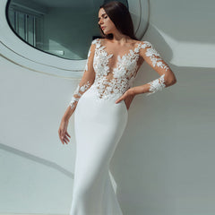 ADLN New Mermaid Wedding Dress Long Sleeves Applique Lace Wedding Gowns Robe De Mariage for Bride Dress Illusion Back