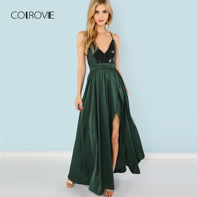 COLROVIE Green Sequin Split V-Neck Summer Dress New High Waist Backless Maxi Dress Sexy Satin Women Evening Party Dress
