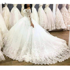 Casamento Luxury 3D Flower Lace Wedding Dresses Full Sleeves Boat Neck Puffy Ball Gowns For Bridal Lace Up Robe De Mariee
