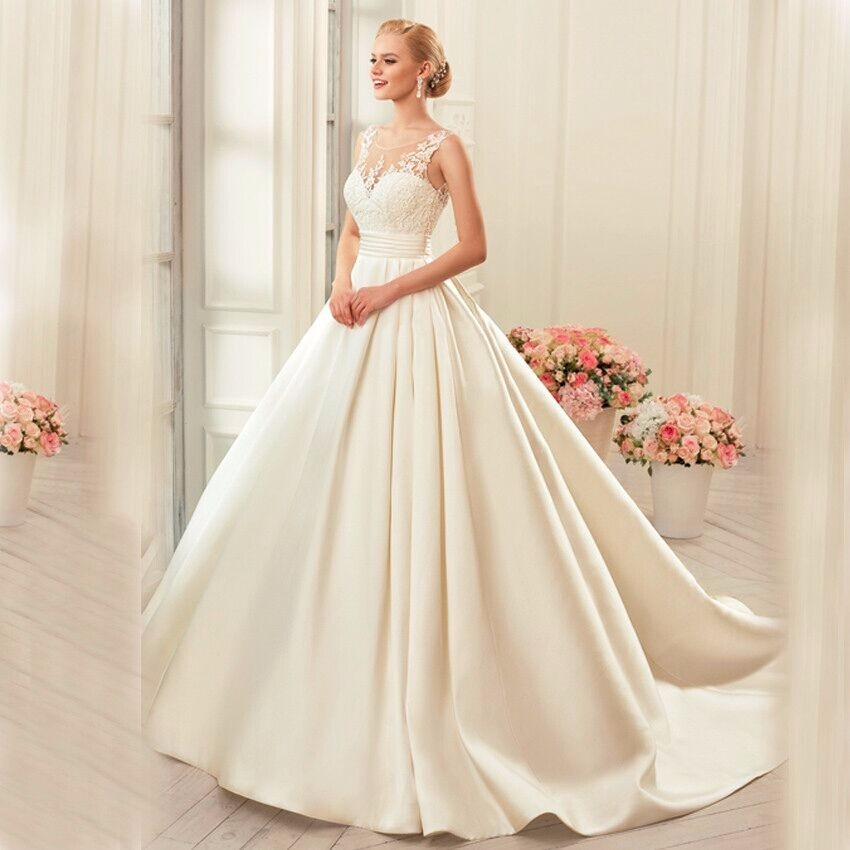 Vestido de noiva Satin Wedding Dresses Ball Gown real photo white & Ivory elegant Bridal dress open back Wedding dresses